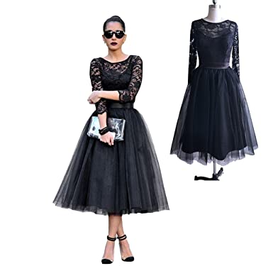 Leogirl Womens Semi Formal Lace Tulle Cocktail Party Dresses Tea