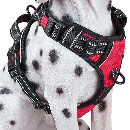 PoyPet No Pull Dog Harness, [2018 Upgrade Edition] Reflective Vest Harness with Front & Back 2 Leash Attachments and Easy Control Handle for Small Medium Large Dog (M, ()