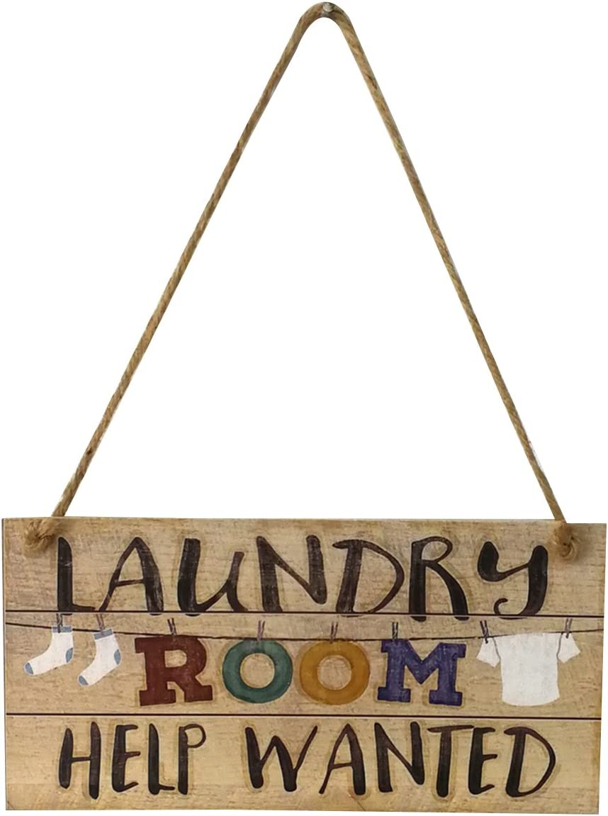 WINOMO Laundry Room Help Wanted Wall Plaque Sign Hanging Wall Door Sign Decor Ornament