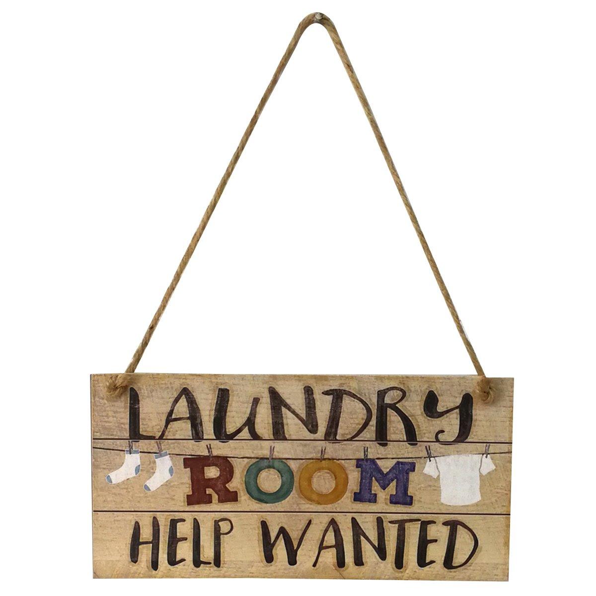 VORCOOL Targa in legno da porta Targhette appendere Shabby Chic per lavanderia