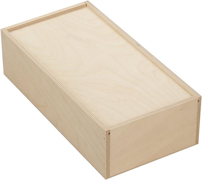 10 x caja de madera con tapa deslizante para 2 x 0,7 litro botellas - Tamaño: 36 x 18 x 10 cm - de álamo madera contrachapada - sin tratar - colcha -