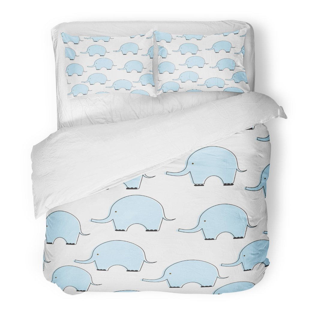 SanChic Duvet Cover Set Cute Blue Flat Style Elephant Pattern Baby Boy Color Silhouette Sweet Children Pastel Decorative Bedding Set 2 Pillow Shams King Size