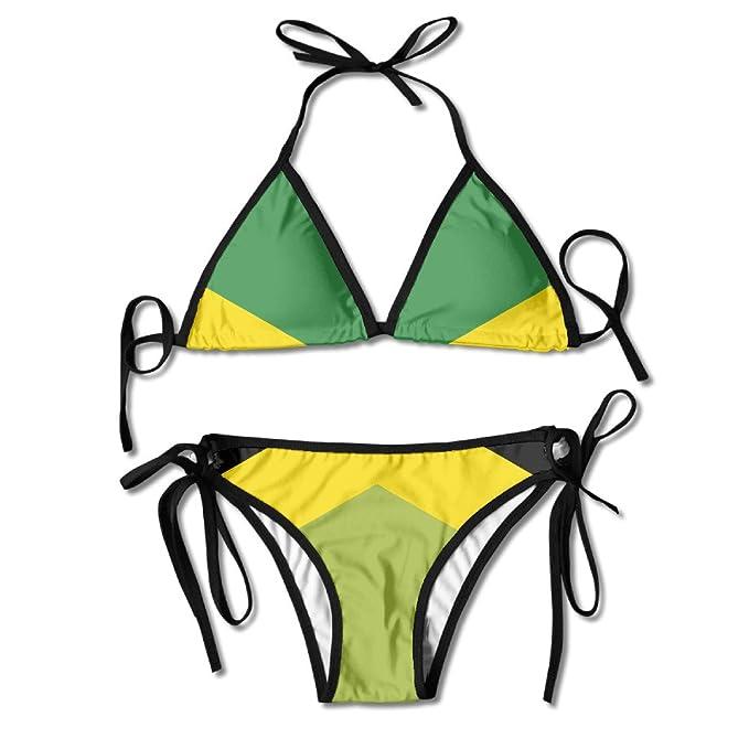 af2bf661ba Amazon.com: Women Jamaica Flag Stylish Bikini Swimsuit Summer Beach Bathing  Suits Push Up Brazilian Suit 2 Piece One Size: Clothing