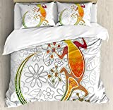 Ambesonne Batik Duvet Cover Set King Size, Native Southeast Asian Common House Gecko Moon Lizard Tropical Monster Graphic Design, Decorative 3 Piece Bedding Set with 2 Pillow Shams, Multicolor