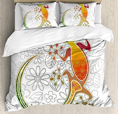 (Ambesonne Batik Duvet Cover Set Queen Size, Native Southeast Common House Gecko Moon Lizard Tropical Monster Graphic Design, Decorative 3 Piece Bedding Set with 2 Pillow Shams, Orange White)