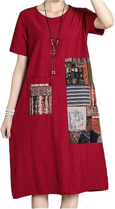 Logobeing Vestido Vestidos Mujer Casual Verano Estampado de Algodón de Lino O-Cuello Tallas Grandes Manga Corta Vestido Suelto Verano (Rojo,XXL): Amazon.es: Ropa y accesorios