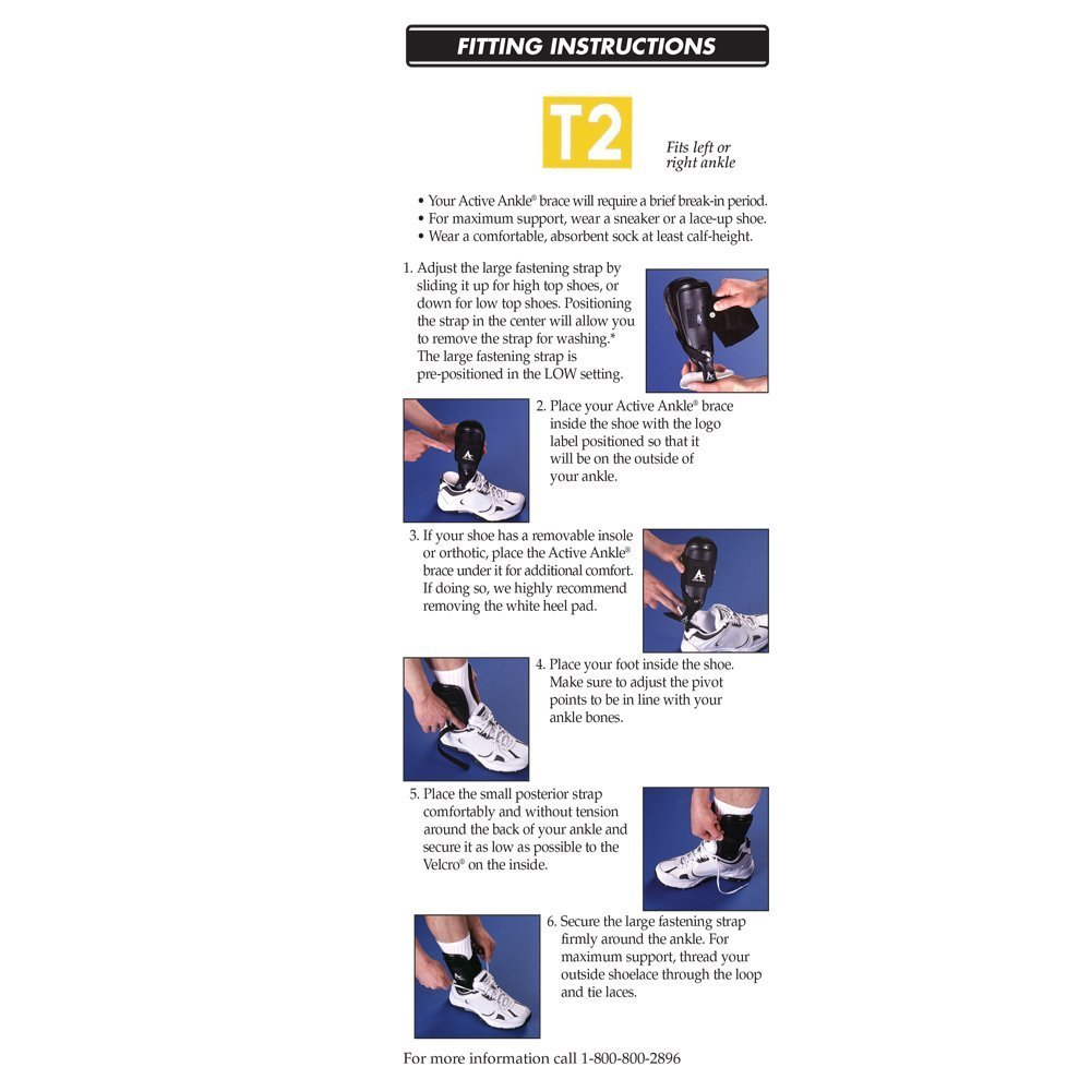 Active Ankle T2 Ankle Brace, Rigid Ankle Stabilizer for Protection & Sprain Support for Volleyball, Cheerleading, Ankle Braces to Wear Over Compression Socks or Sleeves for Stability, Black by Cramer (Image #5)