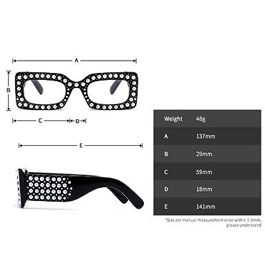 d8a87e1342 Amazon.com  Rhinestone Eyeglasses Women Oversized Glasses Frame Square  Luxury Crystal Designer  Clothing