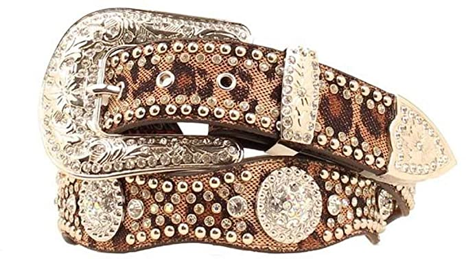 d463077ffbaa Blazin Roxx Women's Leopard Print Rhinestone Conchos Belt at Amazon ...