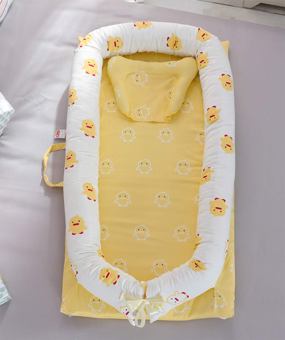 LNDD-Multifunctional Sleeping Nest Pods Baby Lounger Washable Bionic Uterine Bumpers Travel Cradle Mattresses Suitable for 0-3 Years Old Baby,Yellow by LNDD