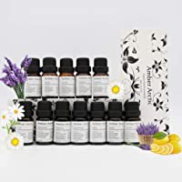 12 Essential Oil Set for Diffuser 100% Pure Plant Oil - Rose,Jasmine,Vetiver,Peppermint,Sandalwood,Chamomile,Tea Tree,Frankincense,Lavender,Cinnamon,Orange,Lemon