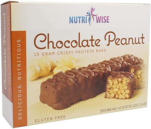 NutriWise – Chocolate Covered Peanut Bar 7 Box High Protein Diet Bar Gluten Free, Low Sugar, Low Fat, Low Calorie