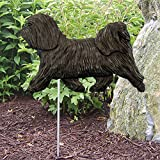 Cheap Michael Park Woodcarver Havanese Outdoor Garden Dog Sign Hand Painted Figure Dark Grey
