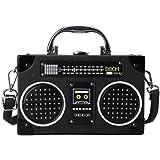 WEISHAZI Bolso bandolera con forma de radio, estilo vintage, con cierre de clip, para mujer negro