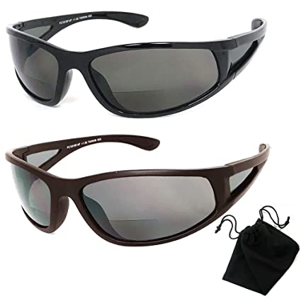 747bb23d88 Image Unavailable. Image not available for. Color  Polarized Bifocal  Sunglasses Mens Womens UV Fishing Reading Black Brown 1.50 New