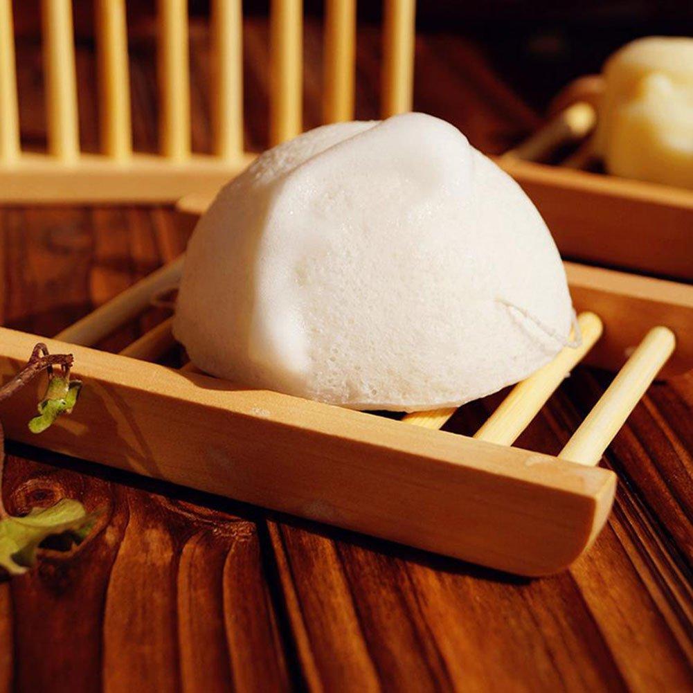 Chakil portasapone in Legno di bamb/ù Naturale con Supporto di immagazzinaggio Durevole portasapone Vassoio Box per Bagno Doccia Legno 1 Style 1