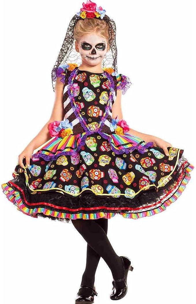 Girls Day of the Dead Rosa Senorita Costume Sugar Skull Dress Child Medium 8-10