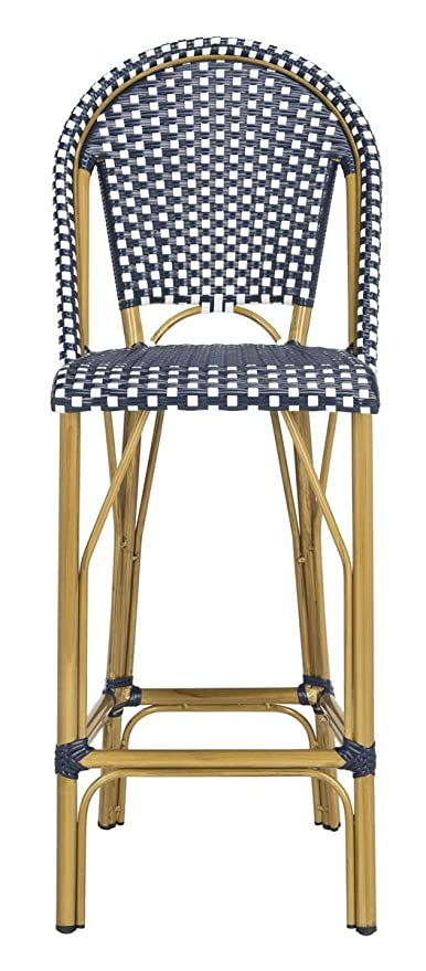 Magnificent Safavieh Pat4008A Collection Ford Navy And White Indoor Outdoor Stacking French Bistro Bar Stool Theyellowbook Wood Chair Design Ideas Theyellowbookinfo