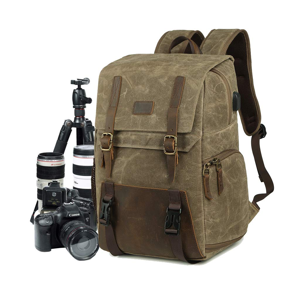 Camera Backpack DSLR Canvas Camera Bag Large Capacity Waterproof Anti-shock 15.6'' Laptop SLR Camera Travel Rucksack Professional Lens Organizer Green