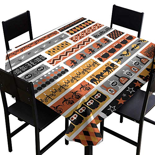 Table Cloth for Outdoor Halloween Clipart washi Tape,W54 x L54 for Umbrella Table