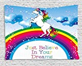 Ambesonne Kids Tapestry, Unicorn Surreal Myth Creature before Rainbow Clouds Star Fantasy Girls Fairytale Image, Wall Hanging for Bedroom Living Room Dorm, 60 W X 40 L Inches, Multicolor