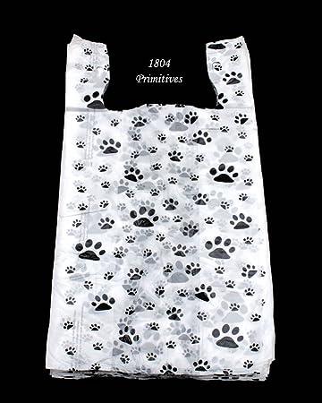 69eb15b98 Amazon.com: 100 Cat or Dog PAW PRINT Plastic T-Shirt Bags ~ 22