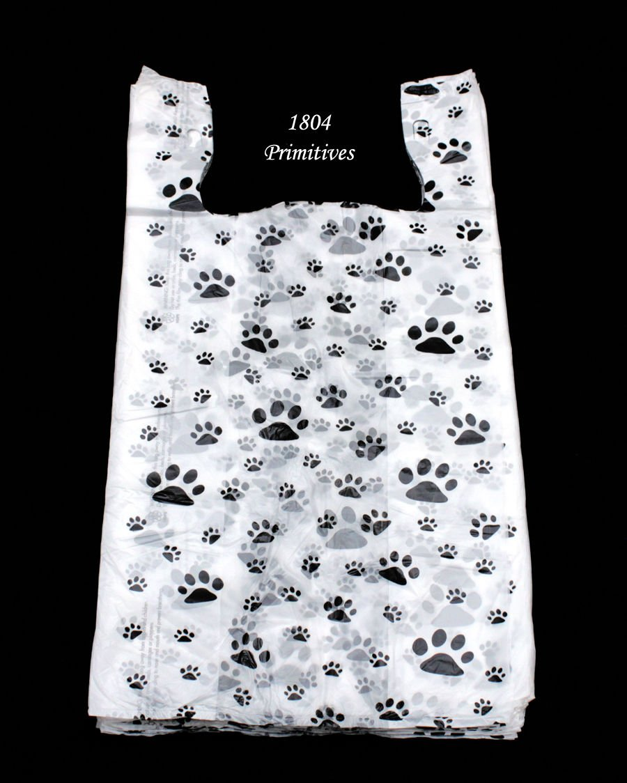 100 Cat or Dog PAW PRINT Plastic T-Shirt Bags ~ 22'' L x 12'' W x 7'' Gusset