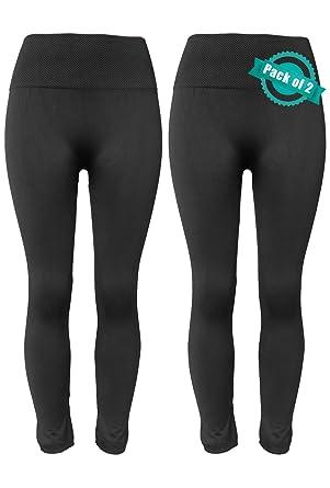 f1dc223c66d Sipaya Women Fleece Lined Leggings High Waist Ankle Length 2 Pack Black