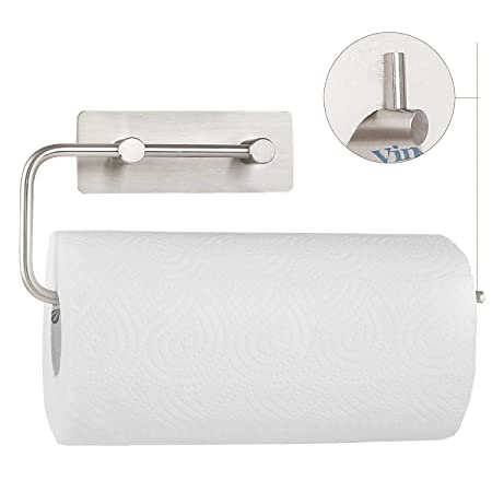 homfa kitchen roll holder self adhesive paper tissue dispenser stainless steel rowel rack brushed finish - Kitchen Roll