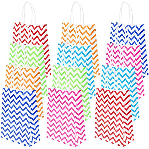 Coobey 30 Pieces Paper Party Bags Ripple Kraft Bag Candy Bags with Handle for Birthday, Gift, Tea Party, Wedding and Party Favor, 6 Colors]()