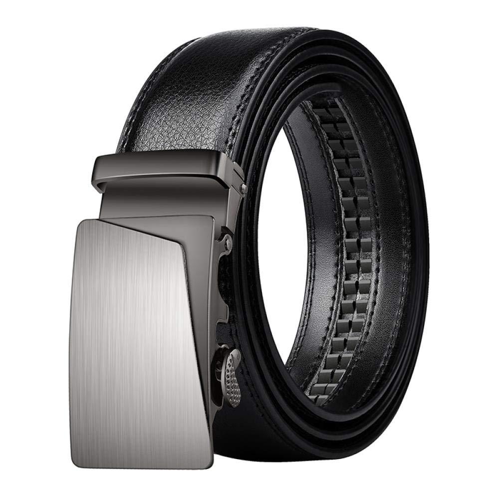 Men's Belt Men's automatic buckle belt Black trousers belt soft 479 - Black open sideband 120 cm