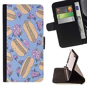 Momo Phone Case / Flip Funda de Cuero Case Cover - Aléatoire Floral Bleu alimentaire - Apple Iphone 4 / 4S