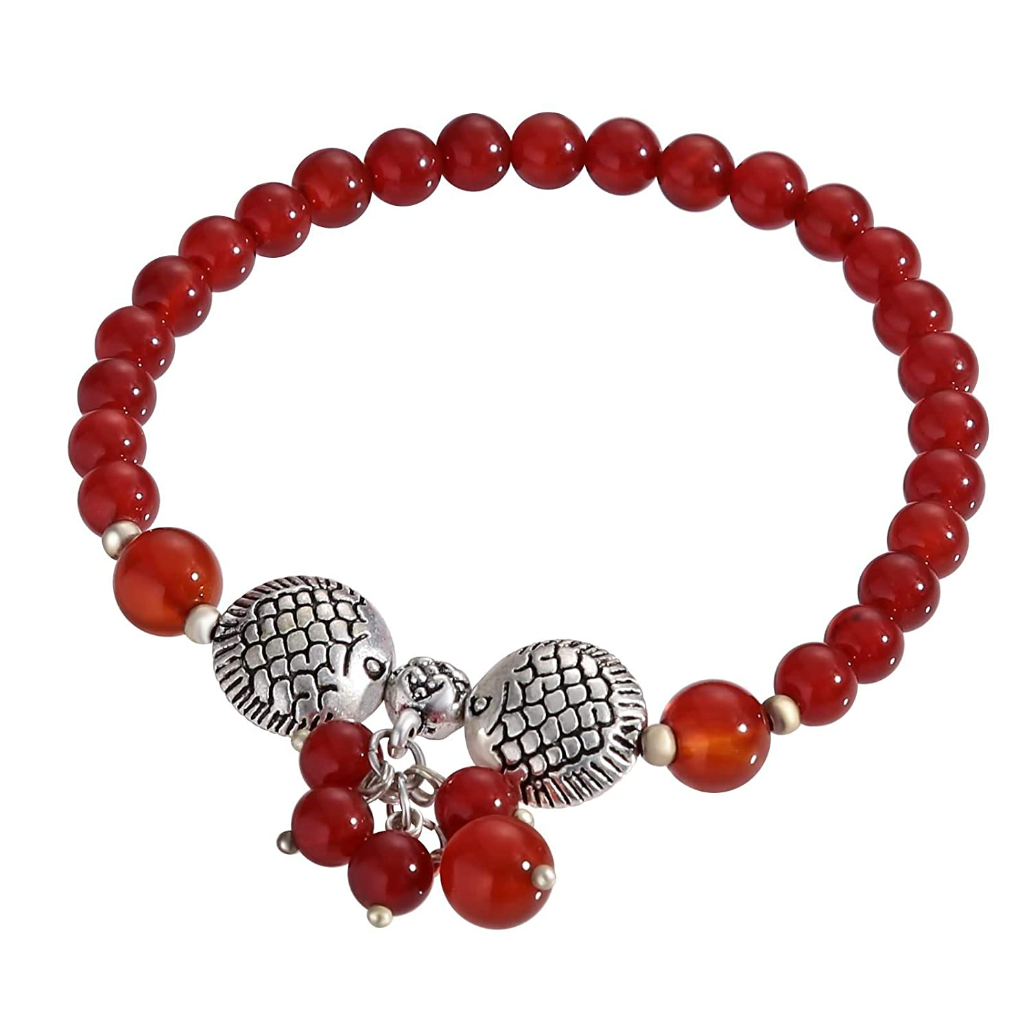 KnBoB Beaded Anklet Ankle Chain Red Beads with Fish Charms Beach Foot Chain Ankle Bracelet PJSCPXD2PMN156