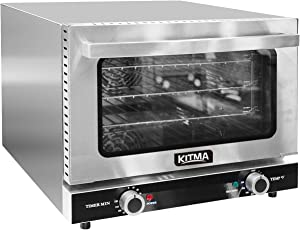 KITMA 26L Countertop Convection Oven - Commercial Toaster Oven with 3 Toasting Racks, 1440W Efficient Heating, Stainless Steel, Silver