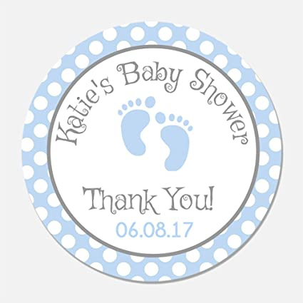 amazon com 40 personalized blue baby feet shower favor stickers