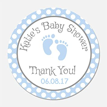 Amazon 40 Personalized Blue Baby Feet Shower Favor Stickers