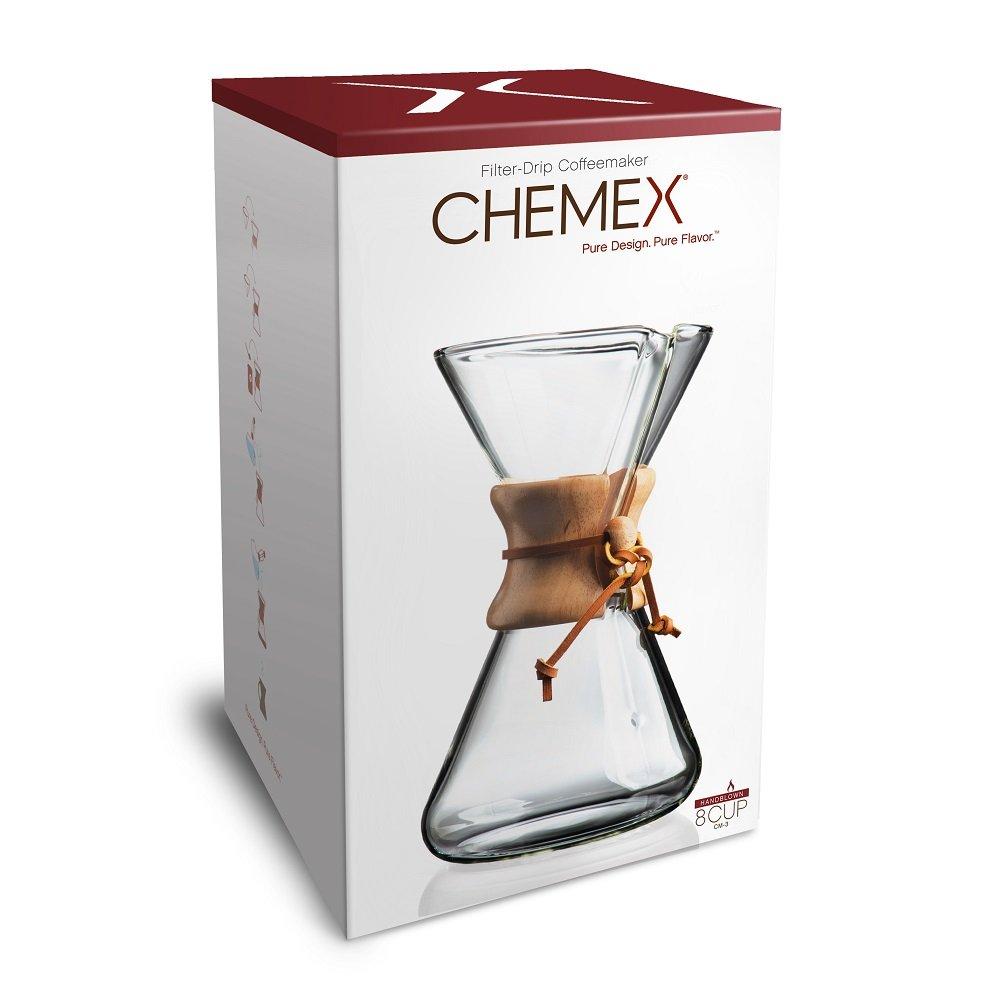 Chemex, Handblown Pour-over Glass Coffeemaker, 8-Cup