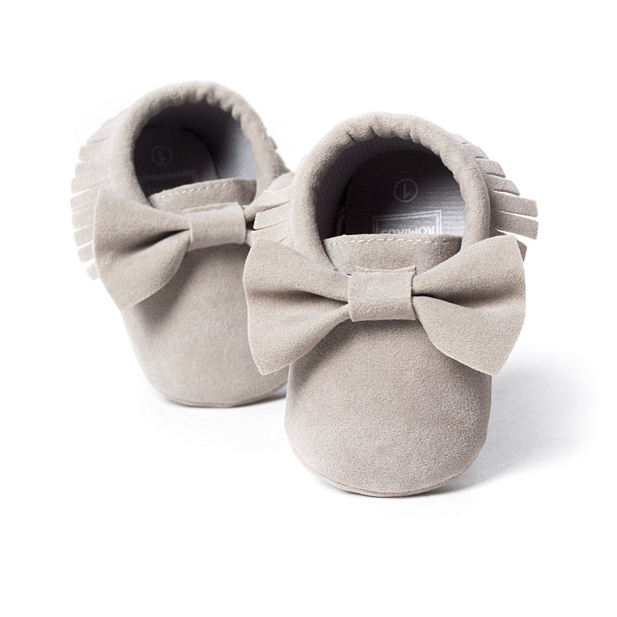 LIVEBOX Infant Baby Girls and Boys Premium Soft Sole Moccasins Tassels Prewalker Anti-Slip Toddler Shoes (S: 0~6 Months, Bow-Light Grey) by LIVEBOX (Image #2)