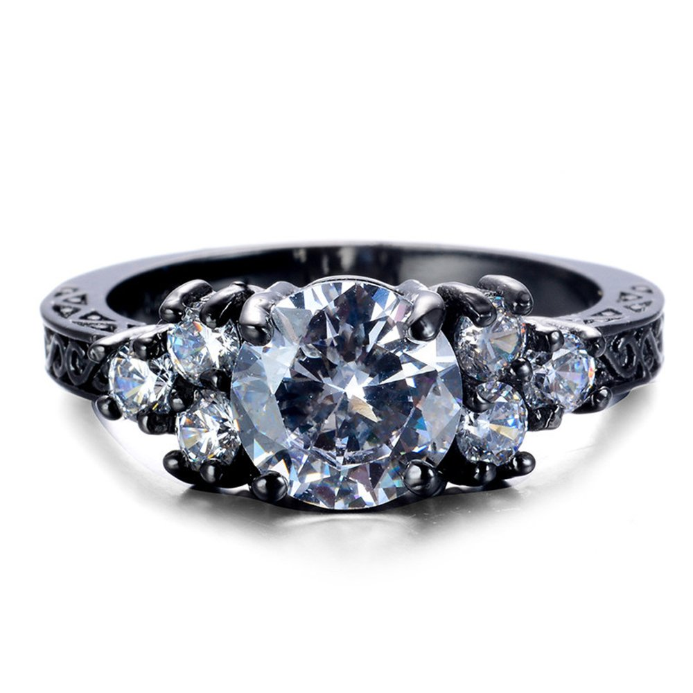 F/&F Ring White Zircon Black Gold Filled Ring Vintage Jewelry for Women Wedding Engagement Rings