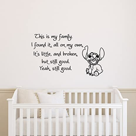 Wall decals nursery lilo and stitch quotes this is my family i found it on my