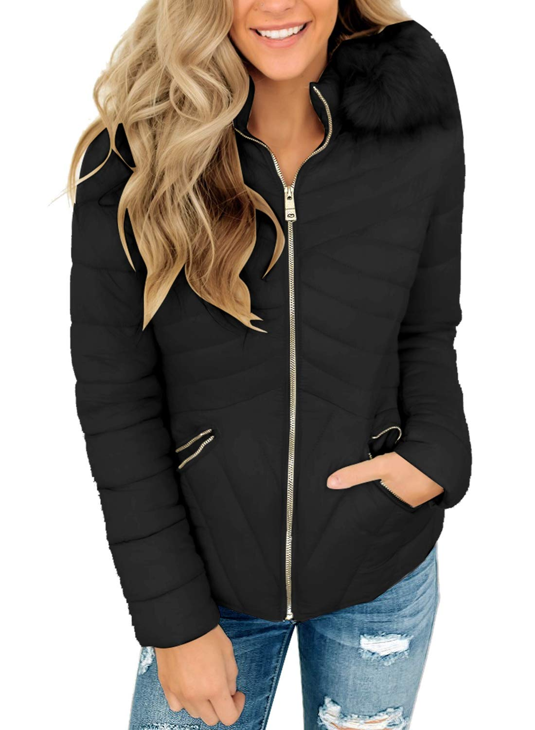 Vetinee Women Black Casual Faux Fur Hooded Zip Pockets Quilted Parka Jacket Puffer Coat Size Large by Vetinee