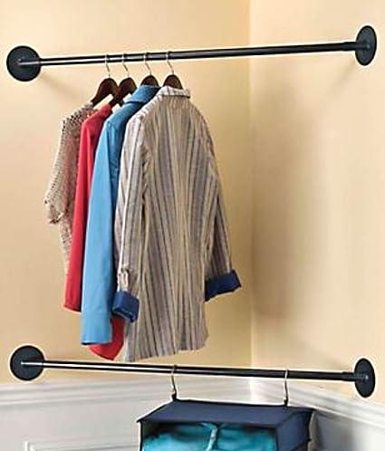 MS Home Corner Closet   Clothes Organizer   Set Of 2 Metal Space Saving Rods