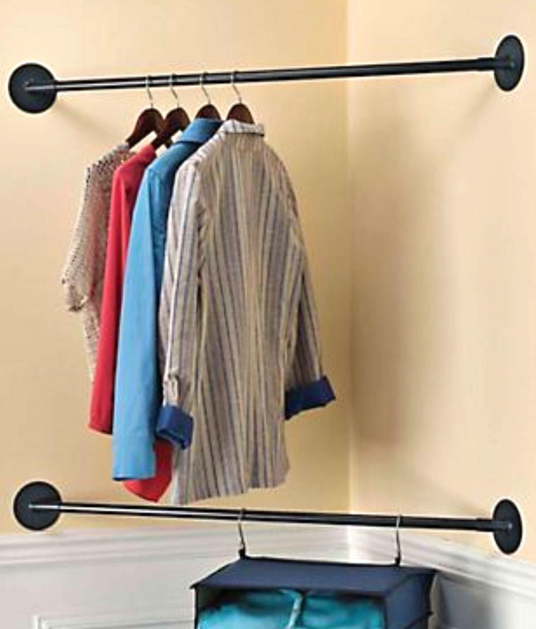 MS Home Corner Closet - Clothes Organizer - Set of 2 Metal Space Saving Rods - w/Wall Hardware - 43'' L