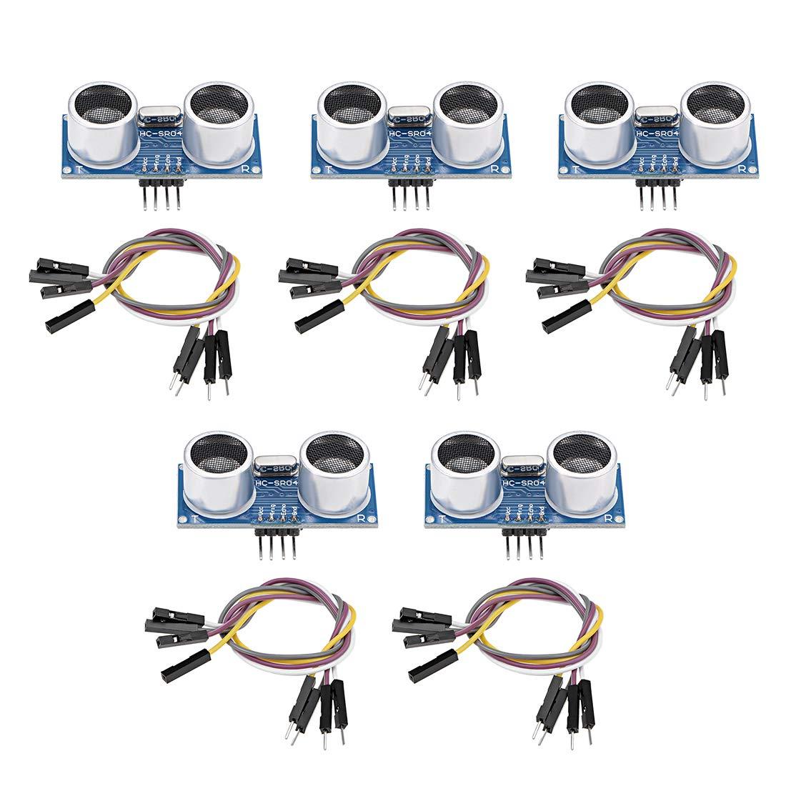 uxcell Ultrasonic Module HC-SR04 Distance Sensor with Jumper Wire for Arduino UNO MEGA R3 Mega2560 Duemilanove Nano Robot 5Set