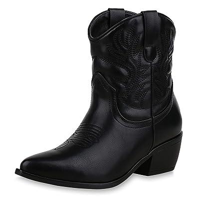 SCARPE VITA Damen Stiefeletten Cowboy Boots Trichterabsatz