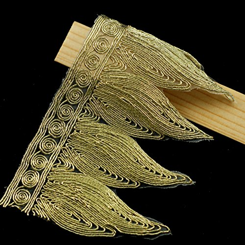 5yards Gold Metallic Trim Lace African Guipure Lace Fabric Ribbon Embellishment Applique Patch Wedding Costume Trimming T1037