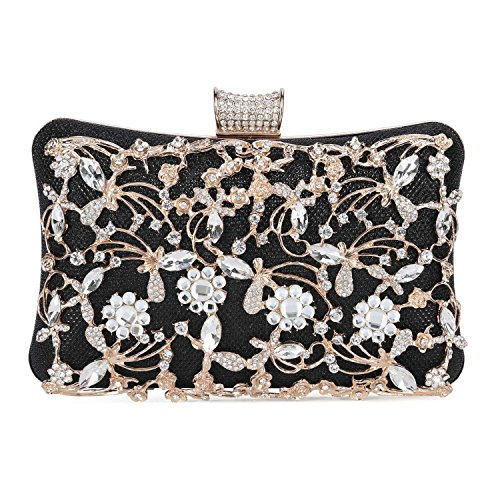 (Tanpell Womens Crystal Evening Clutch Bag Wedding Purse Bridal Prom Handbag Party Bag Black )