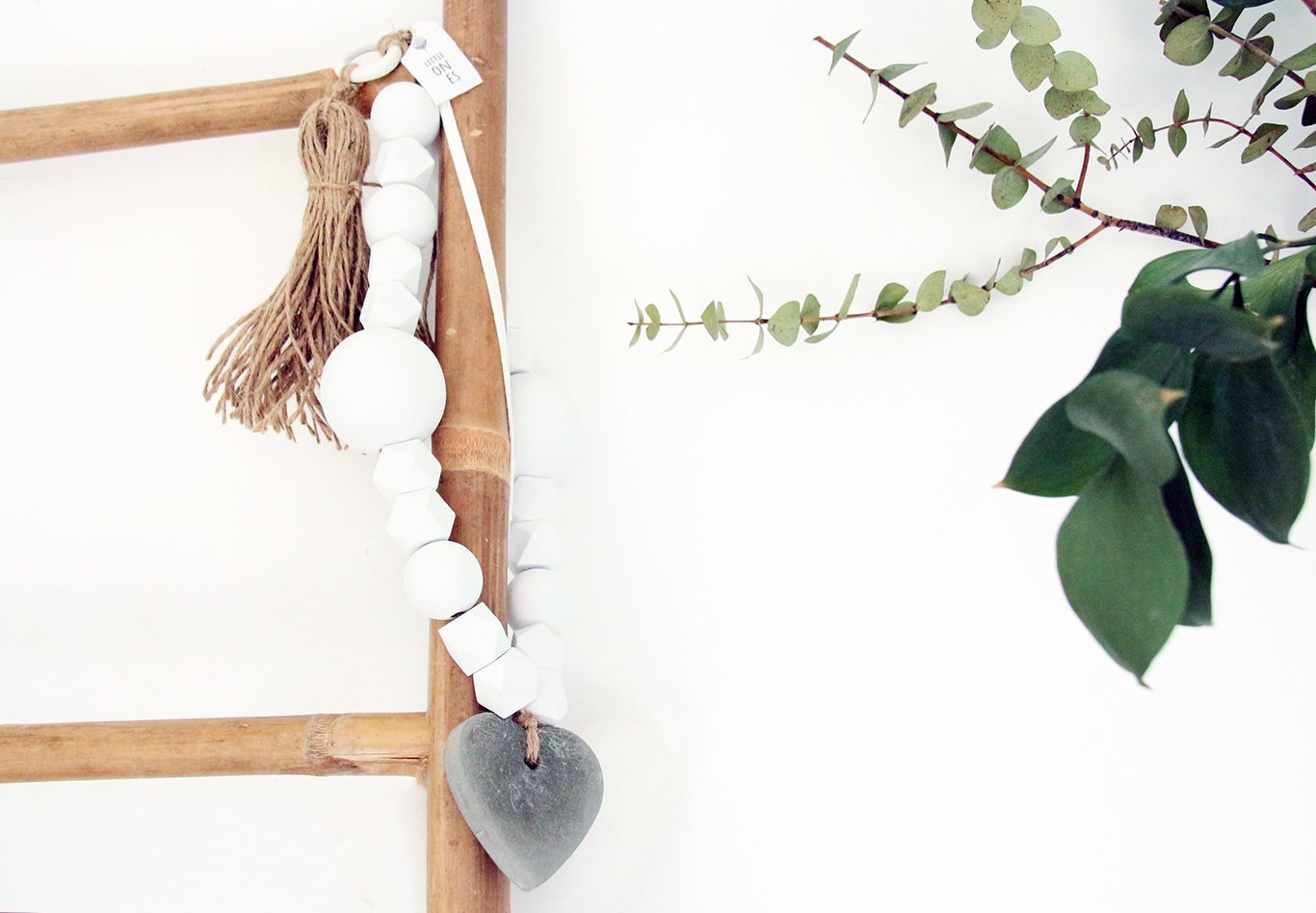Concrete Heart hanging decoration, Long white garland, Wall decor