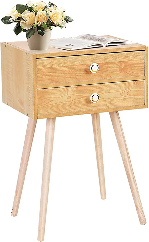 Giantex Nightstand W/2 Drawers for Bedroom Living Room Small Spaces Modern  Home Furniture Simple Natural Legs Storage End Side Tables (1)