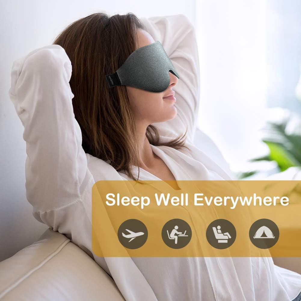 Masque de sommeil Unimi Upgrade 3D Contoured Masque pour les yeux et les yeux band/és,Ombre /à paupi/ères en mousse /à m/émoire de forme avec sangle r/églable,Masque de couchage 100/% bloquant la lumi/ère
